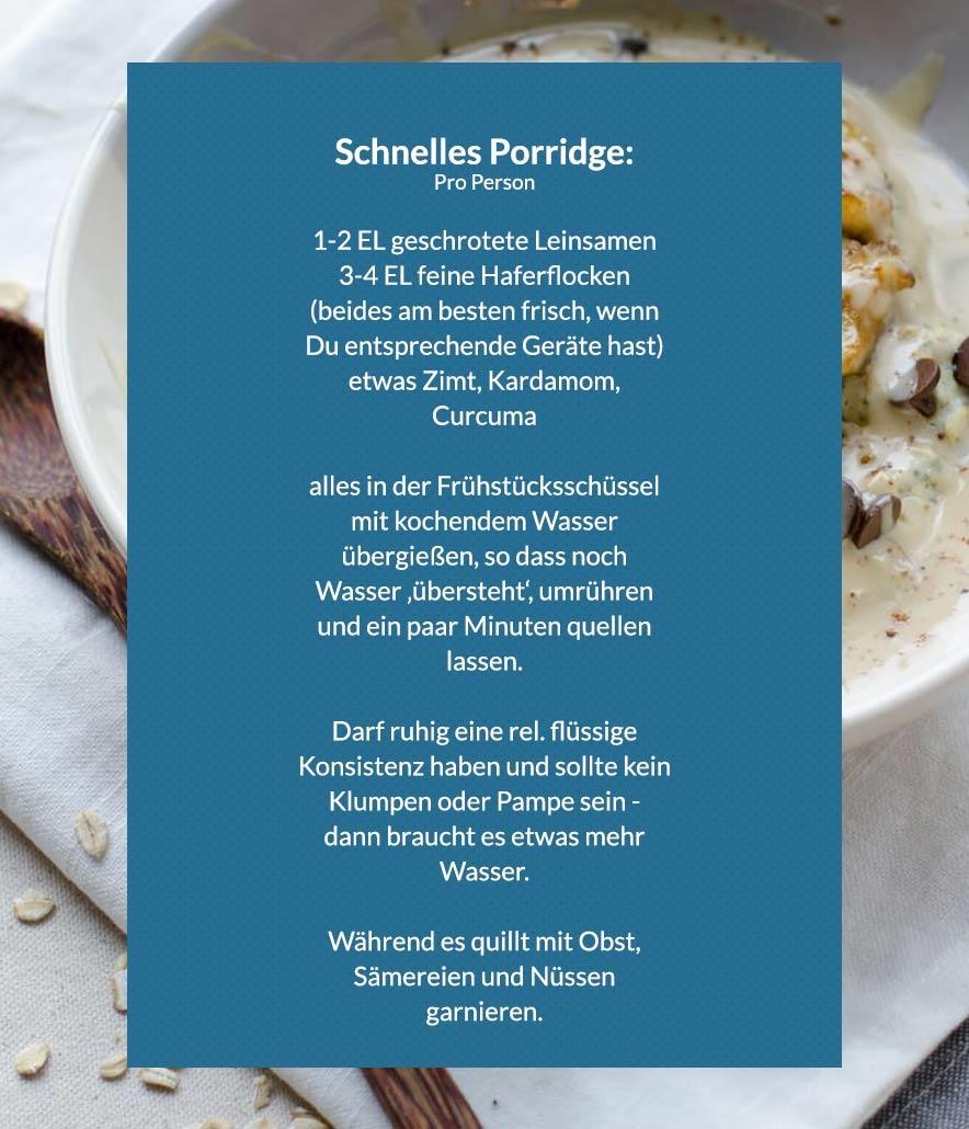Rezept für schnelles Porridge